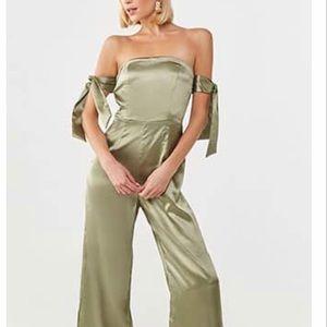 Wide leg Olive Metallic Jumpsuit